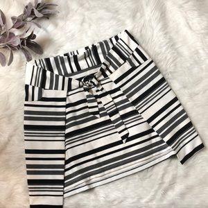 Cabi Faux Wrap Bow Striped Skirt Size M